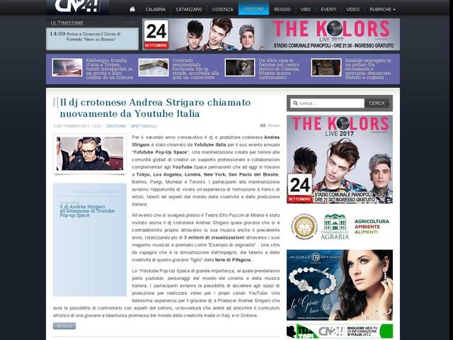 Il dj crotonese Andrea Strigaro chiamato nuovamente da Youtube Italia
