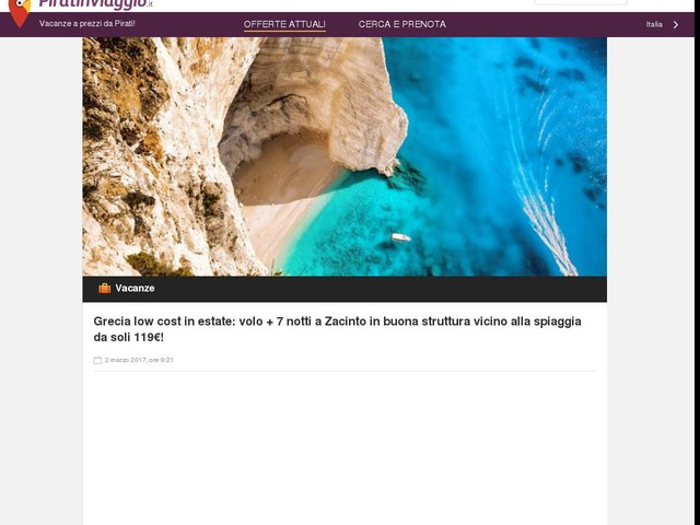 Grecia low cost in estate: volo + 7 notti a Zacinto in buona struttura vicino alla spiaggia da soli 119€!