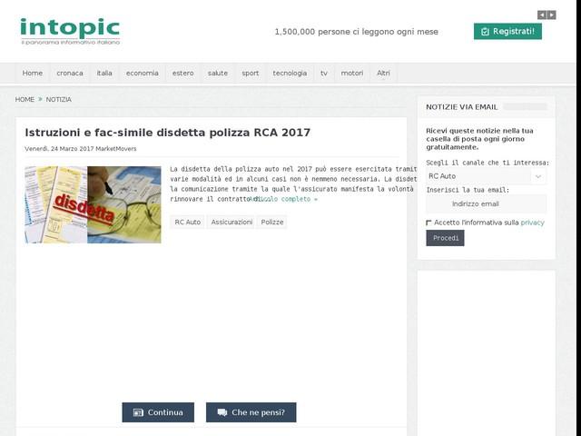 Istruzioni e fac-simile disdetta polizza RCA 2017