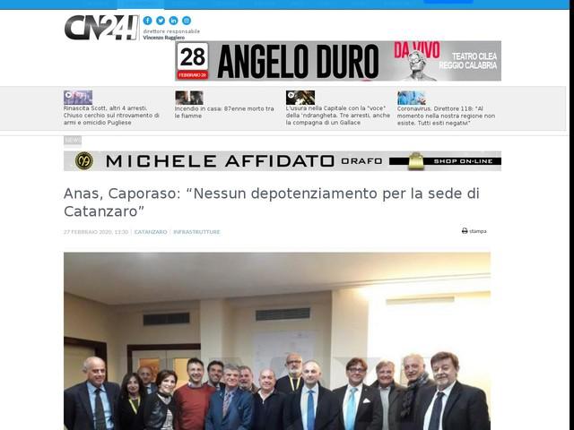 """Anas, Caporaso: """"Nessun depotenziamento per la sede di Catanzaro"""""""