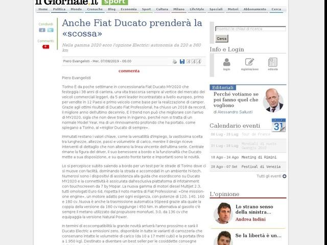 Anche Fiat Ducato prenderà la «scossa»