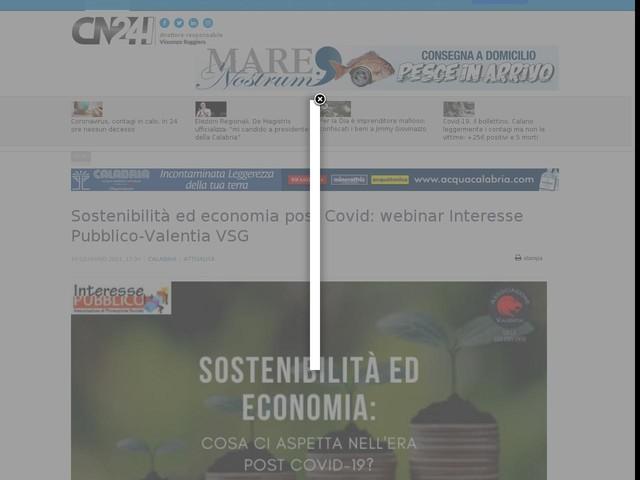 Sostenibilità ed economia post Covid: webinar Interesse Pubblico-Valentia VSG