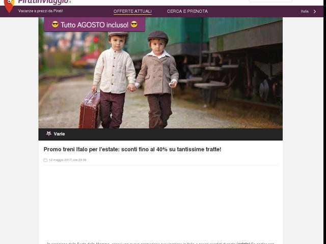 Promo treni Italo per l'estate: sconti fino al 40% su tantissime tratte!