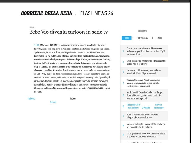 Bebe Vio diventa cartoon in serie tv