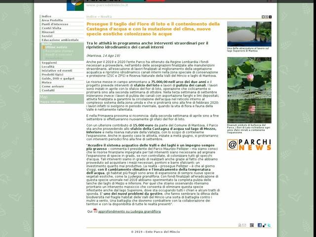 PR Mincio - Prosegue il taglio del Fiore di loto e il contenimento della Castagna d'acqua e con la mutazione del clima, nuove specie esotiche colonizzano le acque