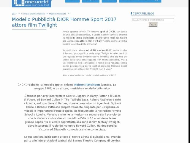 Modello Pubblicità DIOR Homme Sport 2017 attore film Twilight