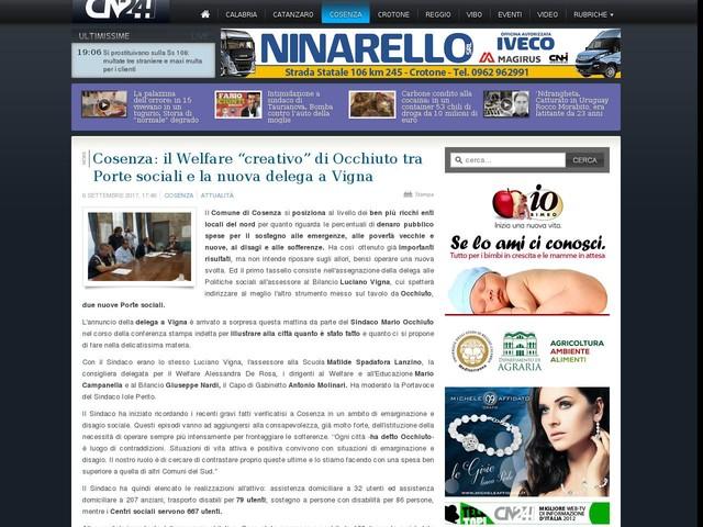 """Cosenza: il Welfare """"creativo"""" di Occhiuto tra Porte sociali e la nuova delega a Vigna"""