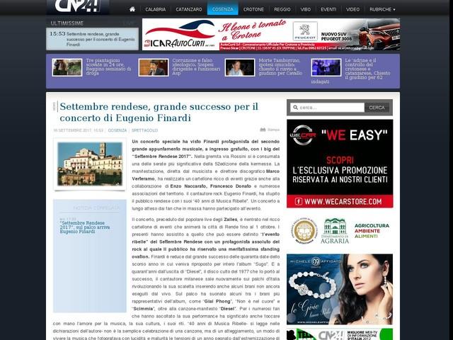Settembre rendese, grande successo per il concerto di Eugenio Finardi