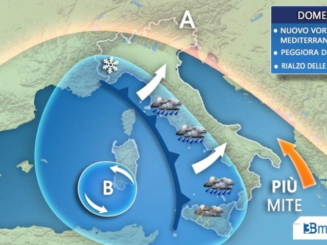 METEO WEEKEND. Nuovo vortice mediterraneo e MALTEMPO su parte d'Italia