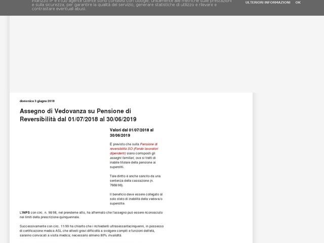 Assegno di Vedovanza su Pensione di Reversibilità dal 01/07/2018 al 30/06/2019