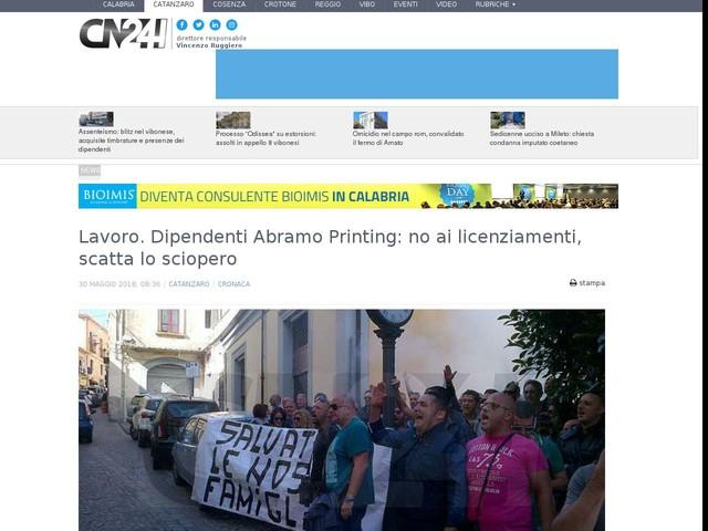 Lavoro. Dipendenti Abramo Printing: no ai licenziamenti, scatta lo sciopero