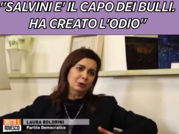 """Boldrini insulta ancora Salvini: """"È un bullo e un maestro dell'odio"""""""