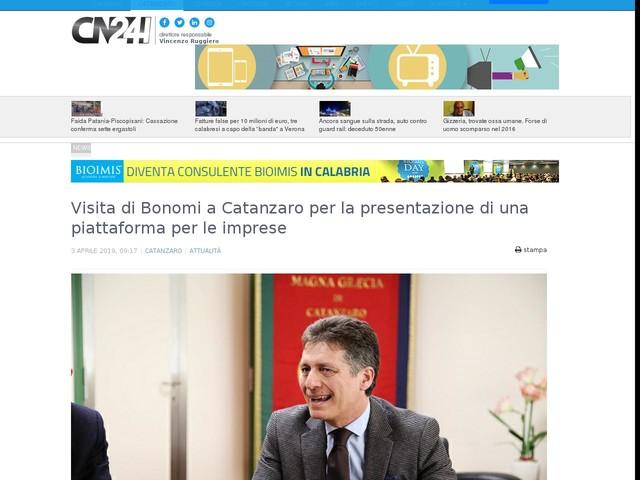 Visita di Bonomi a Catanzaro per la presentazione di una piattaforma per le imprese