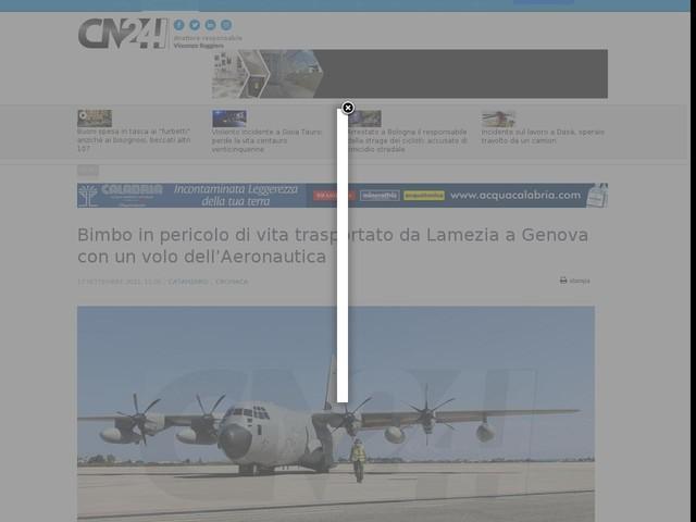 Bimbo in pericolo di vita trasportato da Lamezia a Genova con un volo dell'Aeronautica