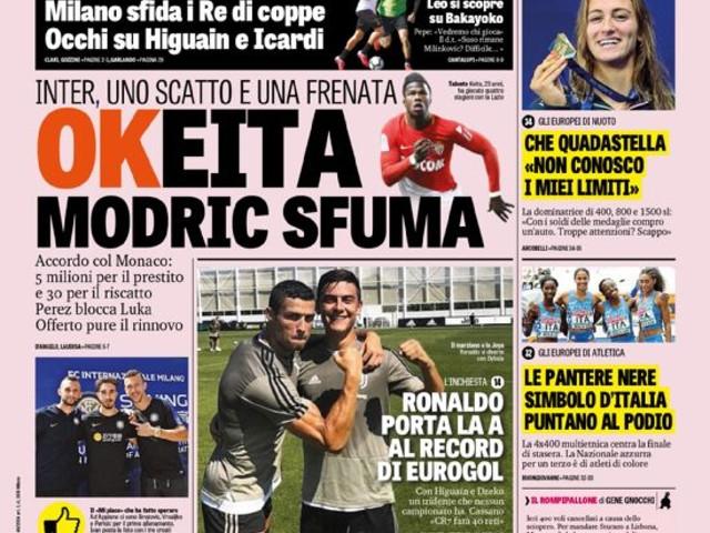 Gazzetta dello Sport – OKeita Modric sfuma
