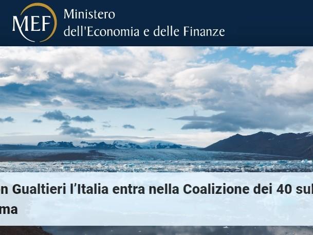 L'Italia entra nella Coalizione dei 40 dei ministri delle finanze per clima