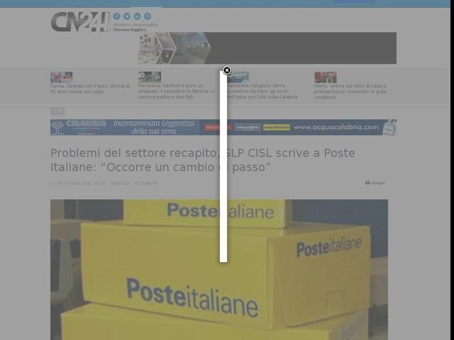 """Problemi del settore recapito, SLP CISL scrive a Poste Italiane: """"Occorre un cambio di passo"""""""