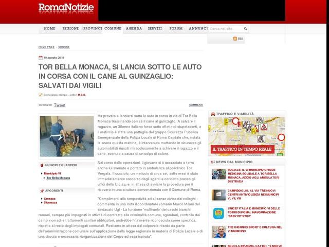 Tor Bella Monaca, si lancia sotto le auto in corsa con il cane al guinzaglio: salvati dai vigili