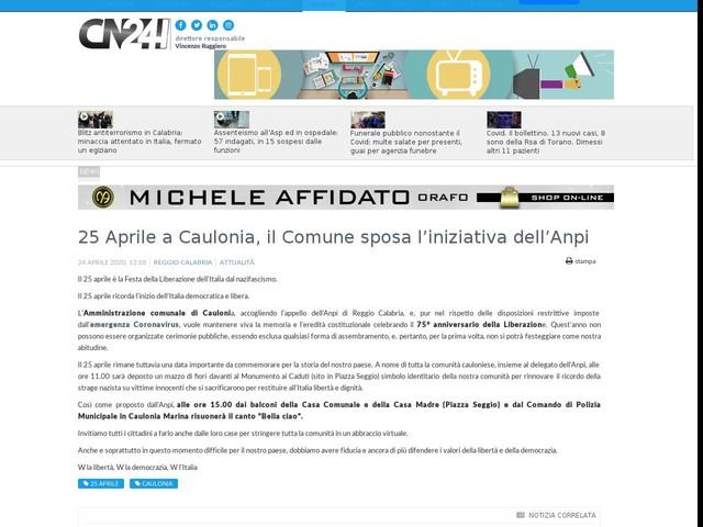 25 Aprile a Caulonia, il Comune sposa l'iniziativa dell'Anpi