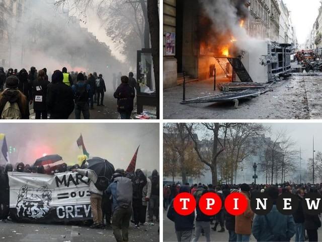 Francia paralizzata dagli scioperi contro la riforma delle pensioni, violenti scontri a Parigi tra black block e polizia