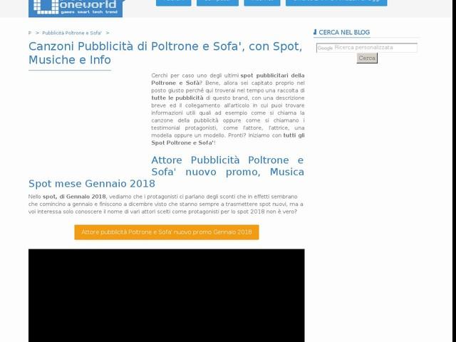 Canzoni Pubblicità di Poltrone e Sofa', con Spot, Musiche e Info