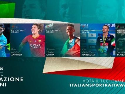 Italian Sportrait Awards 2020. Categoria rivelazione uomini: Berrettini, Crippa, Marsaglia, Scardina e Zaniolo in corsa per la vittoria
