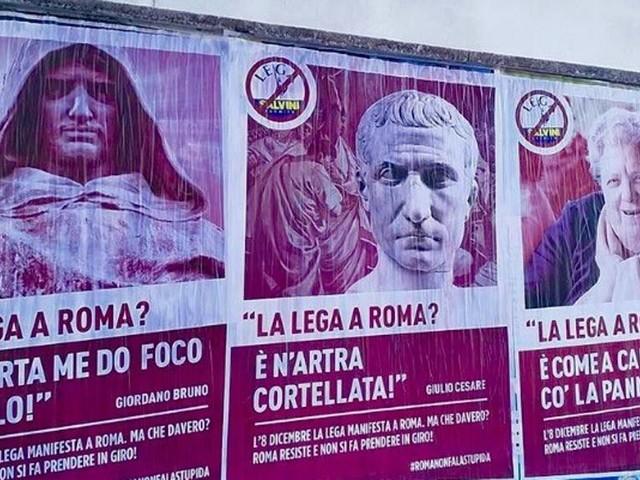 Roma (non) dà il suo benvenuto alla Lega: per le strade compaiono manifesti ironici anti Salvini