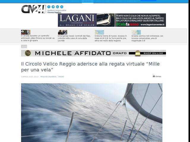 """Il Circolo Velico Reggio aderisce alla regata virtuale """"Mille per una vela"""""""