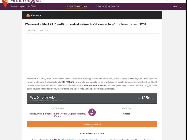 Weekend a Madrid: 3 notti in centralissimo hotel con volo a/r incluso da soli 125€
