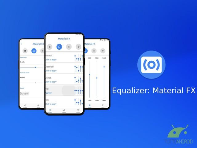 Equalizer: Material FX è un'equalizzatore senza fronzoli che permette di applicare preset ed effetti audio
