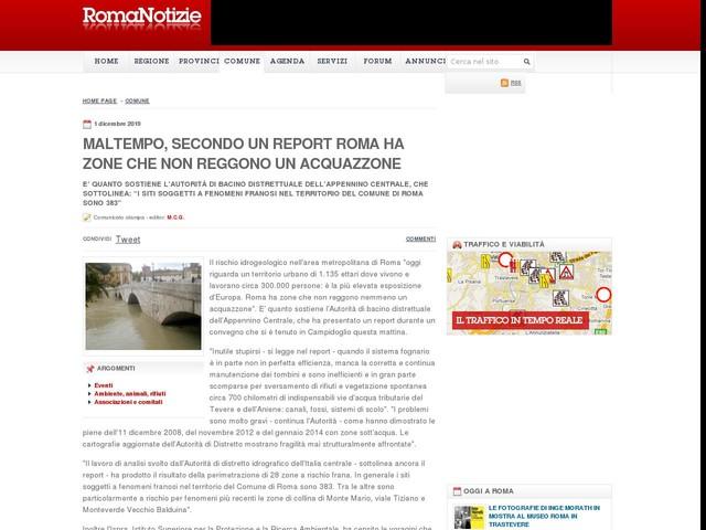 Maltempo, secondo un report Roma ha zone che non reggono un acquazzone