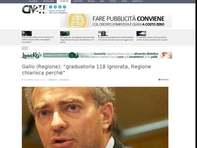 """Gallo (Regione): """"graduatoria 118 ignorata, Regione chiarisca perché"""""""