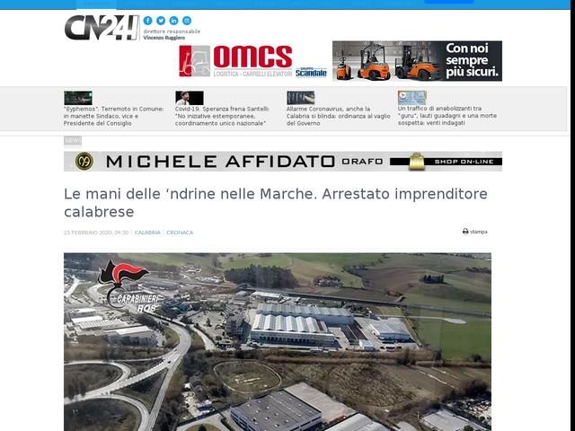 Le mani delle 'ndrine nelle Marche. Arrestato imprenditore calabrese