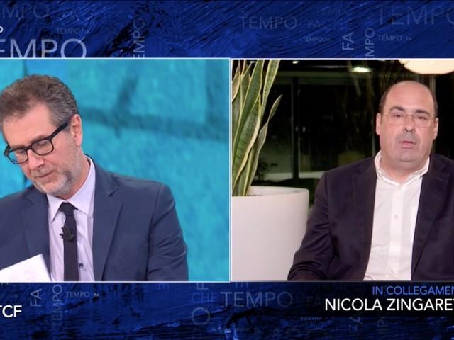 """Zingaretti da Fazio: """"Serve un decreto per una 'Italia semplice' contro la burocrazia"""""""
