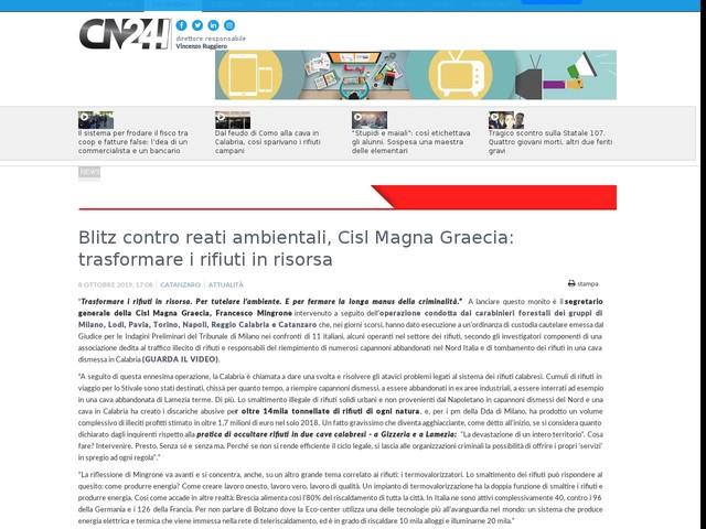 Blitz contro reati ambientali, Cisl Magna Graecia: trasformare i rifiuti in risorsa