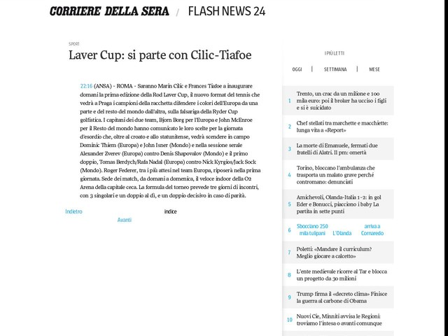 Laver Cup: si parte con Cilic-Tiafoe
