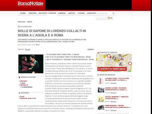 BOLLE DI SAPONE di Lorenzo Collalti in scena a L'Aquila e a Roma