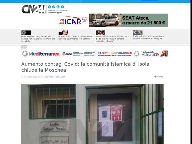 Aumento contagi Covid: la comunità islamica di Isola chiude la Moschea