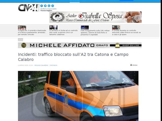 Incidenti: traffico bloccato sull'A2 tra Catona e Campo Calabro