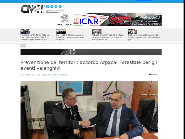 Prevenzione dei territori: accordo Arpacal-Forestale per gli eventi valanghivi