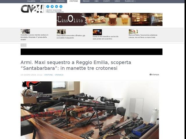 """Armi. Maxi sequestro a Reggio Emilia, scoperta """"Santabarbara"""": in manette tre crotonesi"""