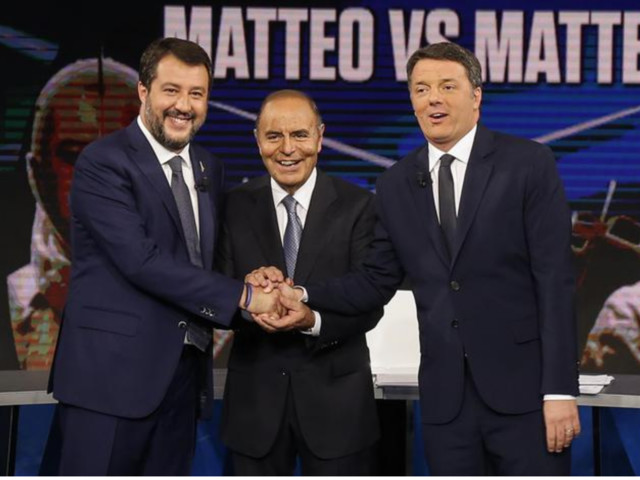 Porta a Porta: Matteo contro Matteo Che scintille tra Renzi e Salvini