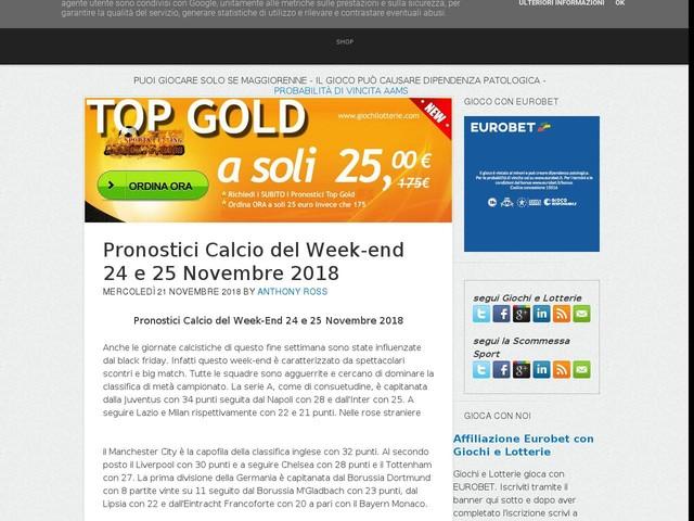 Pronostici Calcio del Week-end 24 e 25 Novembre 2018