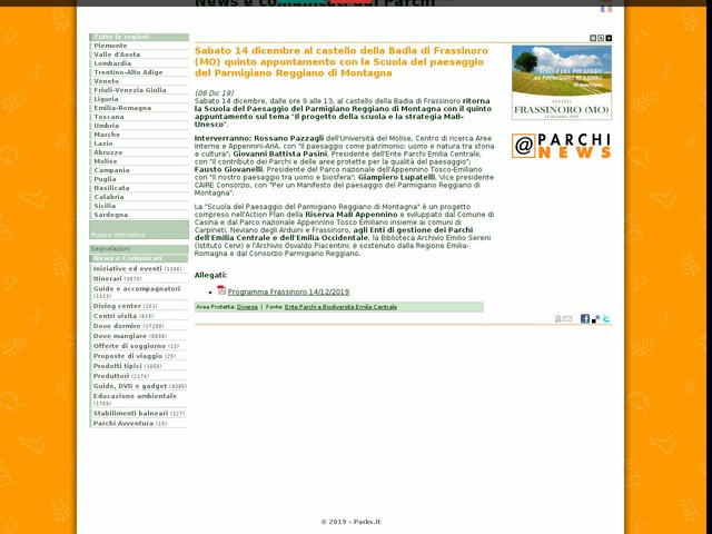 Ente Parchi e Biodiversità Emilia Centrale - Sabato 14 dicembre al castello della Badia di Frassinoro (MO) quinto appuntamento con la Scuola del paesaggio del Parmigiano Reggiano di Montagna