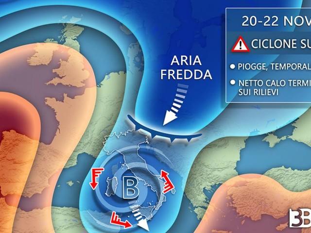 AVVISO meteo -- CICLONE tra venerdì e il weekend; MALTEMPO, BURRASCA di vento e NEVE