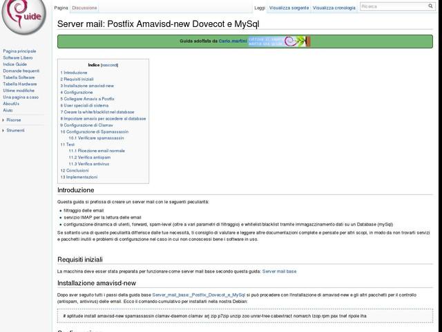Server mail: Postfix Amavisd-new Dovecot e MySql