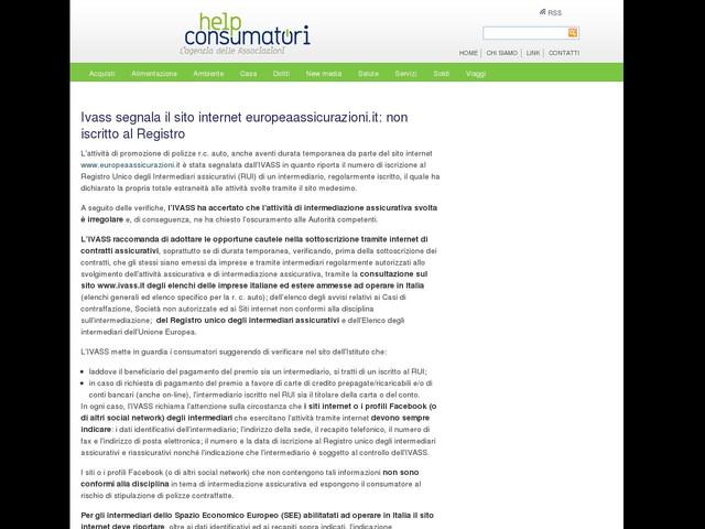 Ivass segnala il sito internet europeaassicurazioni.it: non iscritto al Registro