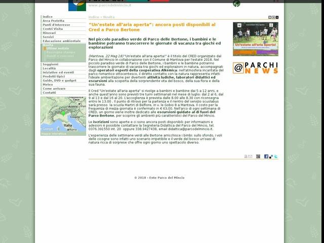 """PR Mincio - """"Un'estate all'aria aperta"""": ancora posti disponibili al Cred a Parco Bertone"""