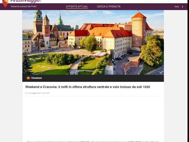Weekend a Cracovia: 3 notti in ottima struttura centrale e volo incluso da soli 102€