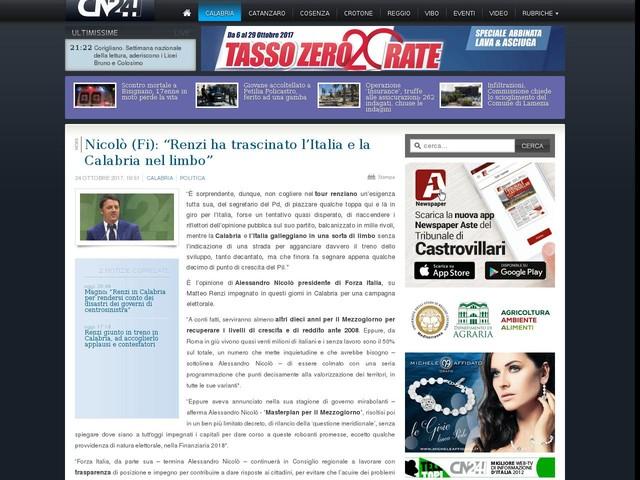 """Nicolò (Fi): """"Renzi ha trascinato l'Italia e la Calabria nel limbo"""""""